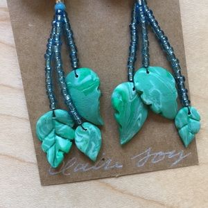 Hand Crafted Jewelry - Handmade Blue Rose Leaf Dangle Earrings
